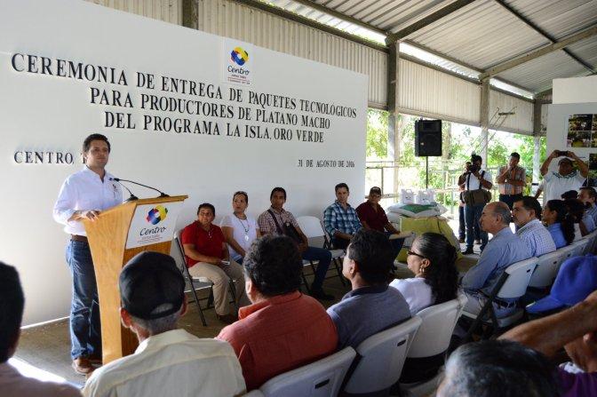 Productores de platano reciben apoyo del gobierno de Centro