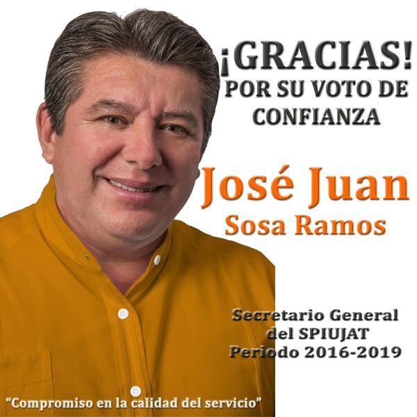 Gana José Juan Sosa elección y es dirigente del SPIUJAT 2016-2019