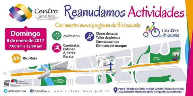 """Para disfrute de las familias, """"Centro en Movimiento"""" se reanuda el 8 de enero"""