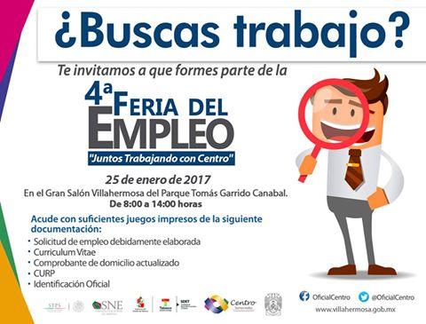 Feria del empleo el 25 de enero en Salón Villahermosa del parque Tomás Garrido