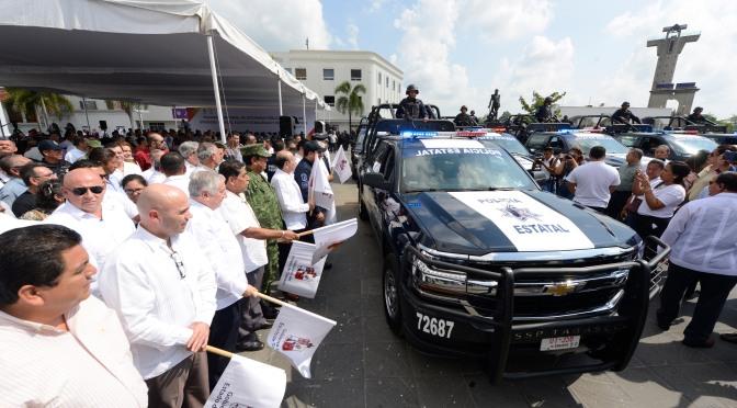 Más equipamiento policial para combatir delitos y dar seguridad a tabasqueños