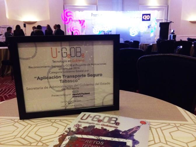 Premio  nacional a Transporte Seguro Tabasco