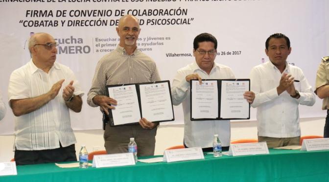 Alianza entre Salud y Cobatab para combatir adicciones en jóvenes