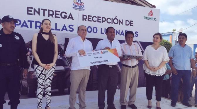 Fortalece gobierno estatal seguridad de Nacajuca con luminarias y patrullas