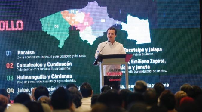 Gaudiano presentó nueve polos de desarrollo y cinco Ejes de su Gobierno Tabasco 3.0