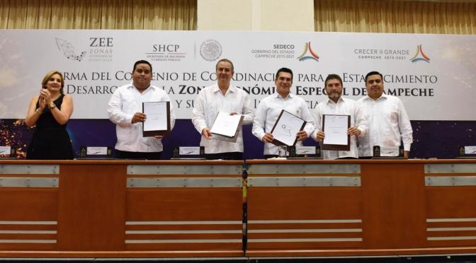 Gobernador de Campeche firma convenio para establecimiento y desarrollo de la ZEE