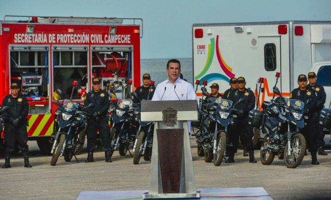 Fortalece gobernador Alejandro Moreno la seguridad de familias campechanas con 61 patrullas más y equipos