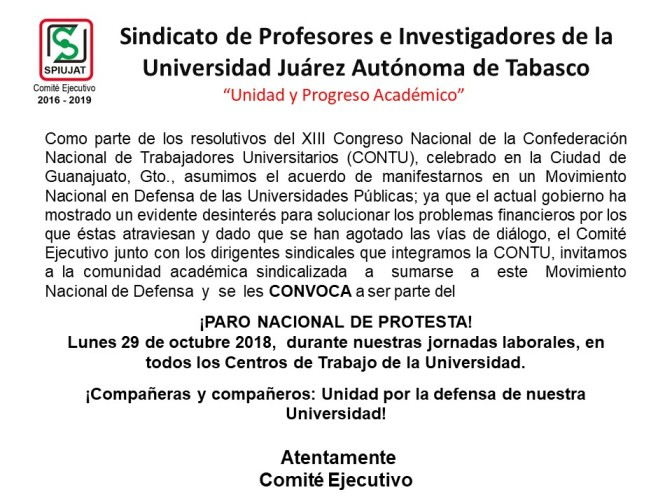 Pararán labores profesores sindicalizados del país y de la UJAT este 29 de octubre