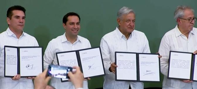 Suscribe gobernador de Campeche, Alejandro Moreno Cárdenas, acuerdo acuerdo con el Presidente AMLO para fortalecer sistema de Salud