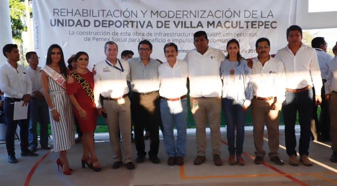 Entrega Pemex obra deportiva en Macultepec