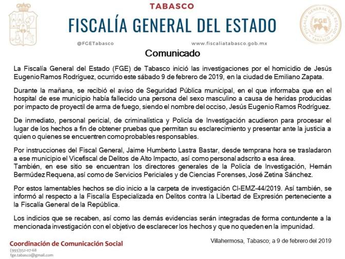 Investiga Fiscalía de Tabasco homicidio  del periodista Jesús Eugenio Ramos Rodríguez