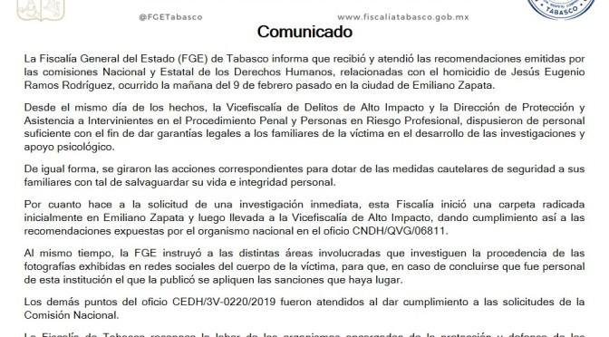 Atiende Fiscalía de Tabasco recomendaciones por homicidio de Jesús E. Ramos Rodríguez