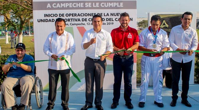 Inaugura el gobernador Alejandro Moreno nuevas instalaciones de la Unidad Deportiva de Carmen