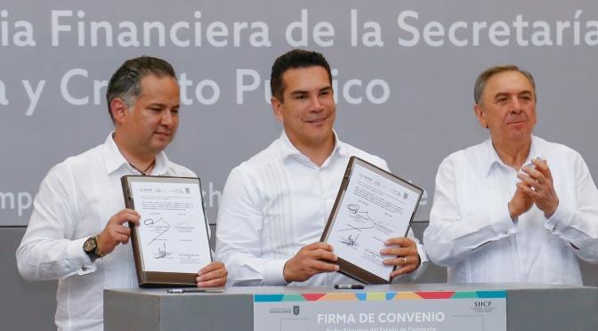 Suscriben convenio gobernador Alejandro Moreno y titular de la UIF para combatir corrupción