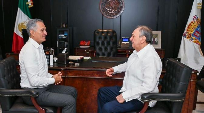 El gobernador  de Campeche y el líder del Congreso  refrendan suma de esfuerzos  a favor del bienestar de campechanos
